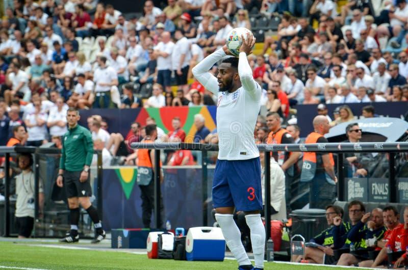 吉马朗伊什,葡萄牙- 2019年6月09日:在UEFA国家同盟决赛期间的丹尼・路斯在瑞士之间的第三名的 免版税库存照片