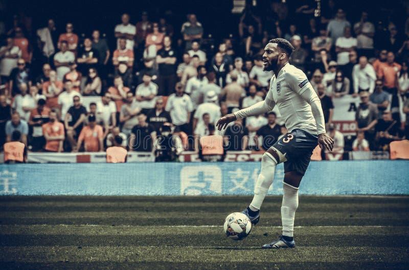 吉马朗伊什,葡萄牙- 2019年6月09日:在UEFA国家同盟决赛期间的丹尼・路斯球员之间第三名的 免版税库存照片
