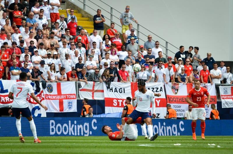 吉马朗伊什,葡萄牙- 2019年6月09日:在UEFA国家同盟决赛期间的乔戈麦斯球员之间第三名的 免版税图库摄影