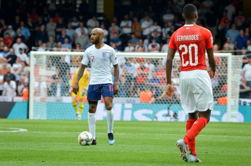 吉马朗伊什,葡萄牙- 2019年6月09日:在UEFA国家同盟决赛期间的Edimilson费尔南德斯之间第三名的 库存图片
