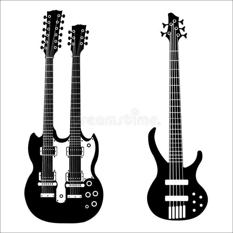 吉他例证查出的集合向量 库存例证