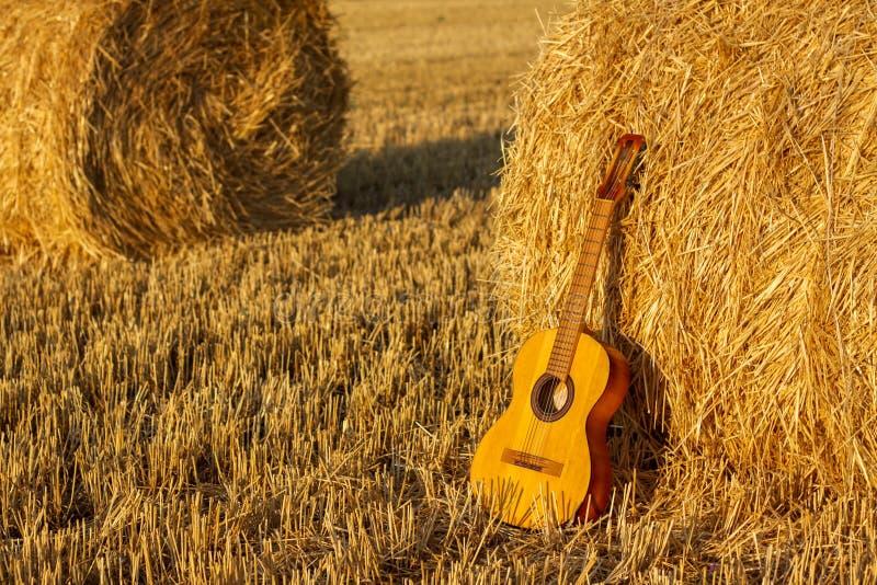 吉他和堆 免版税库存图片
