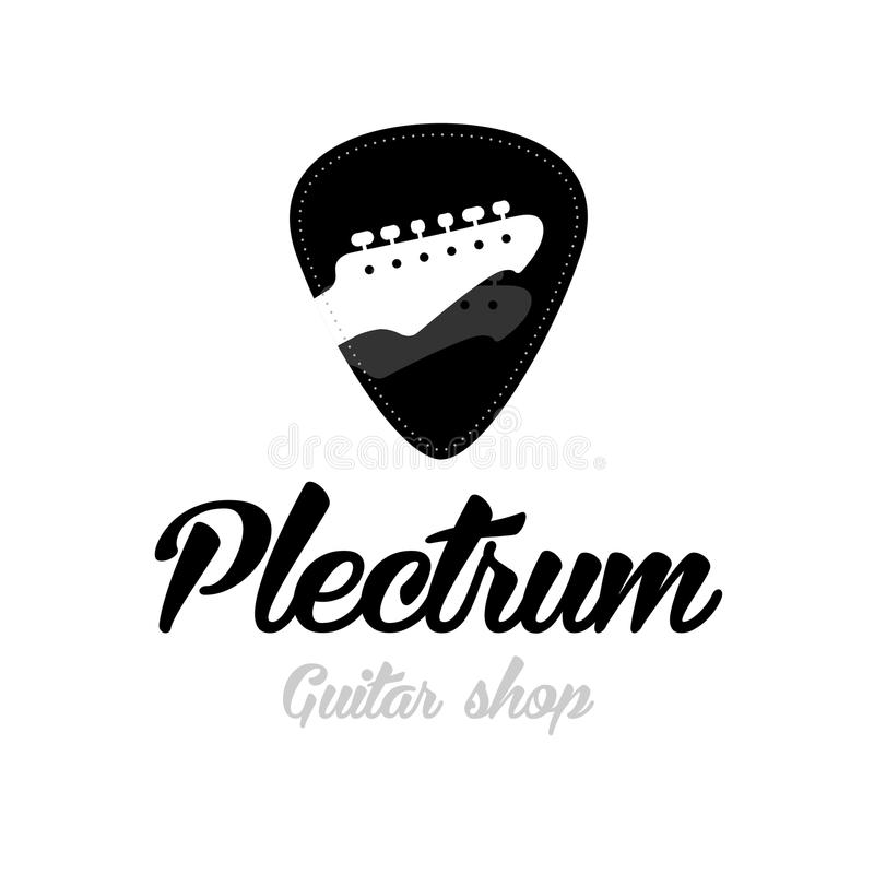 吉他商店商标 吉他床头柜隔绝了琴拨形状 库存图片