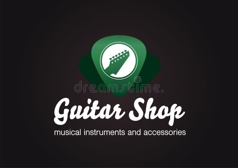 吉他商店商标 在绿色透明琴拨形状的吉他头 库存例证