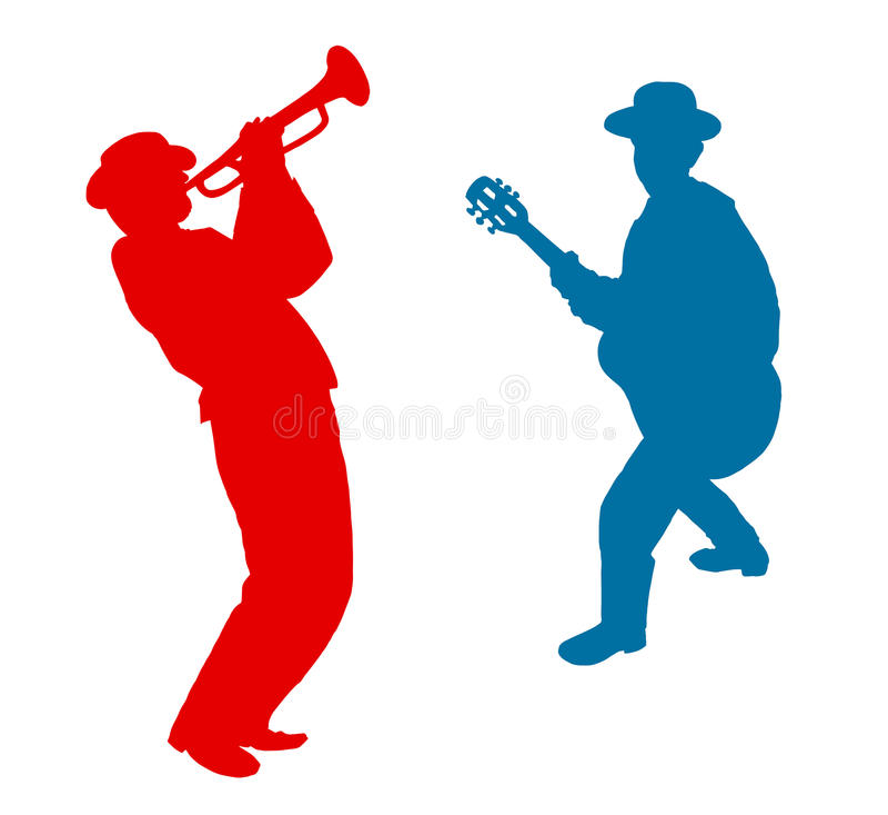 吉他弹奏者和号手戏剧音乐 向量例证
