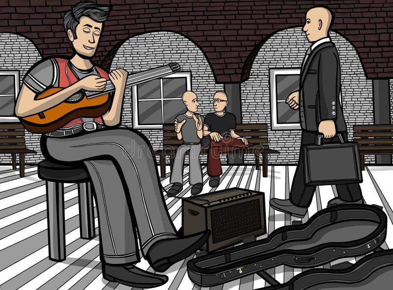 吉他弹奏者在一个公共场所 向量例证
