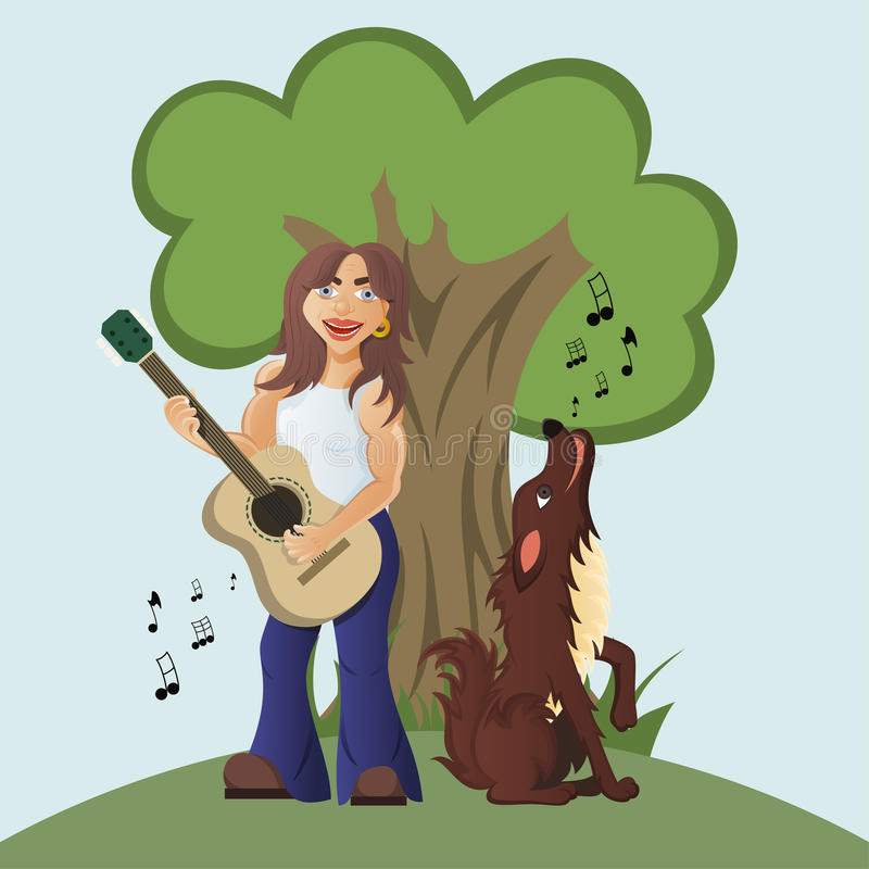 吉他弹奏者演奏声学吉他和狗嗥叫和 库存例证