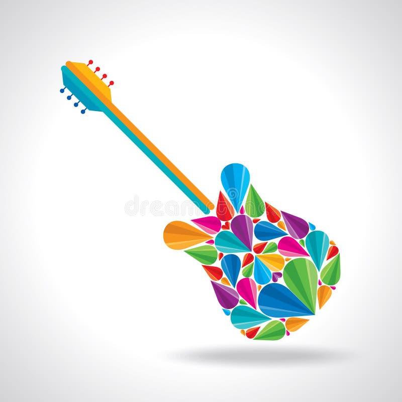 吉他形状的例证与五颜六色的摘要的 皇族释放例证