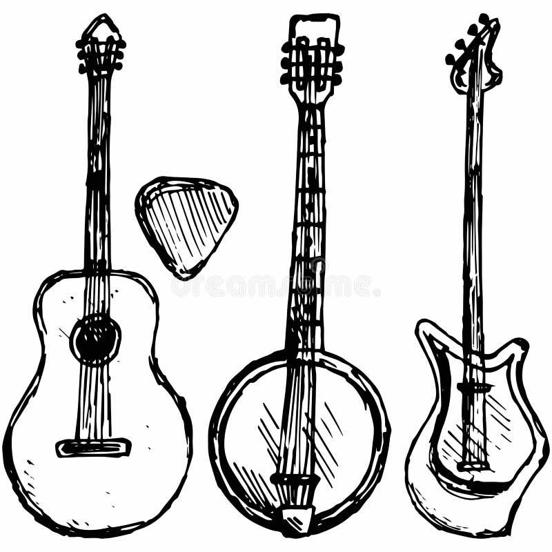 吉他琴拨、吉他和班卓琵琶 向量例证