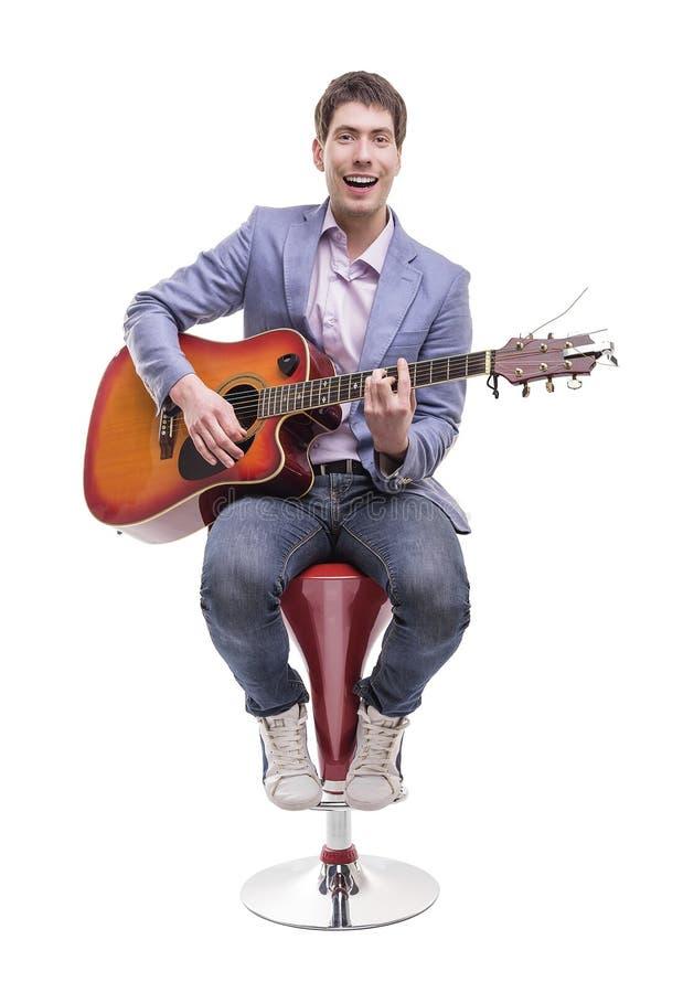 吉他演奏员被隔绝 免版税库存照片