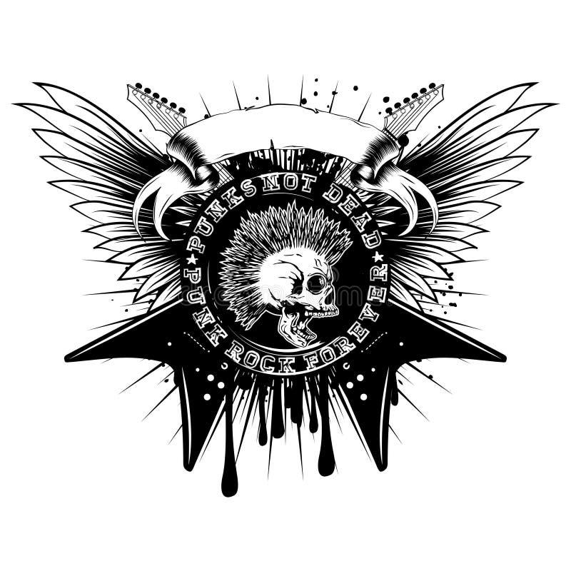 吉他翼skull_var 11 向量例证