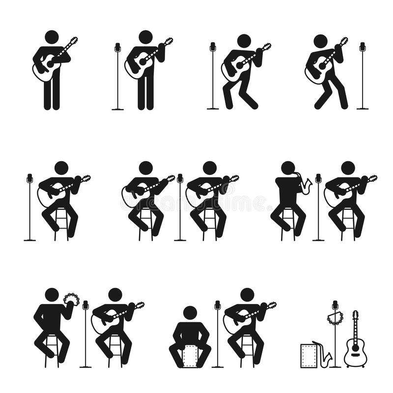吉他被设置的人象 向量例证