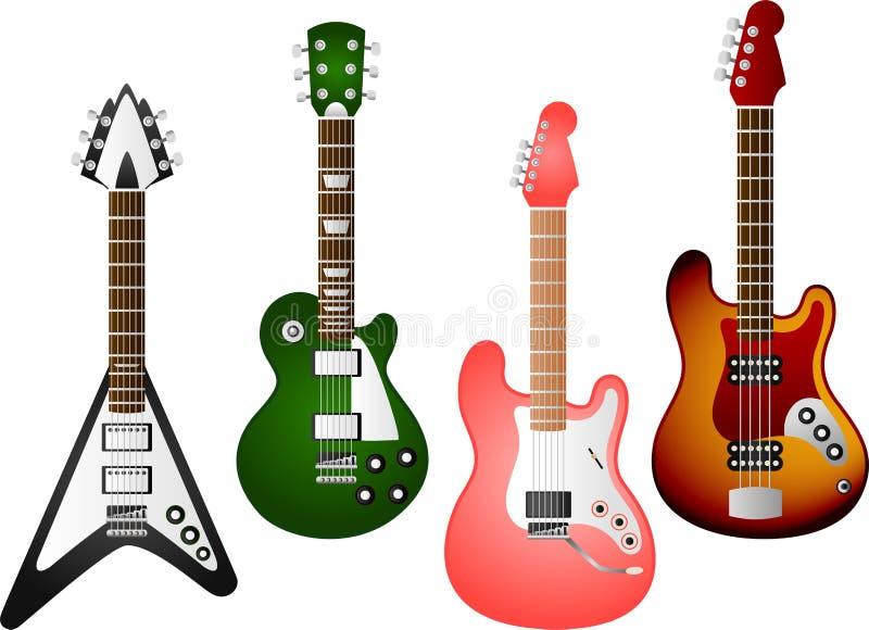吉他设置了6 向量例证
