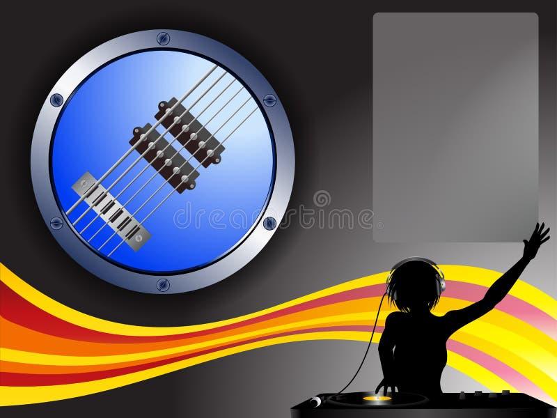 吉他边界DJ和拷贝空间背景 库存例证
