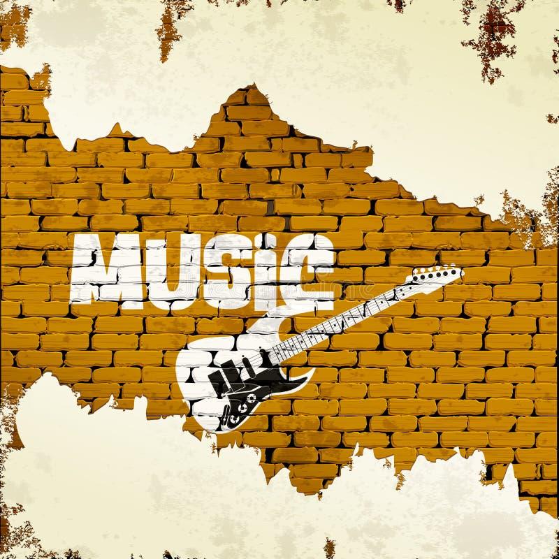 吉他音乐和街道画在砖墙上 库存例证