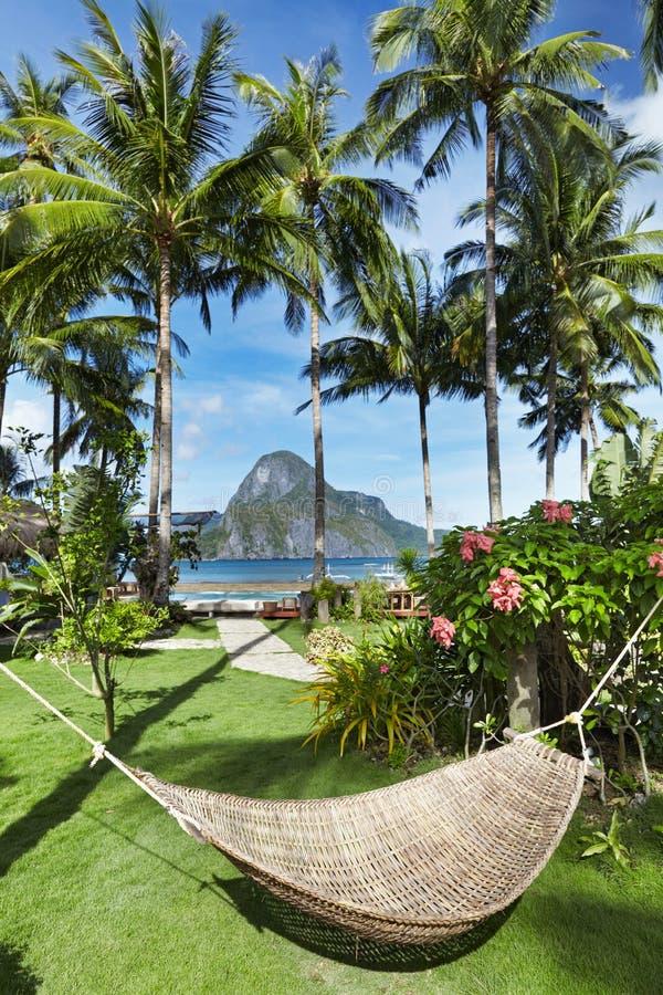 吊床在热带庭院里 免版税库存图片