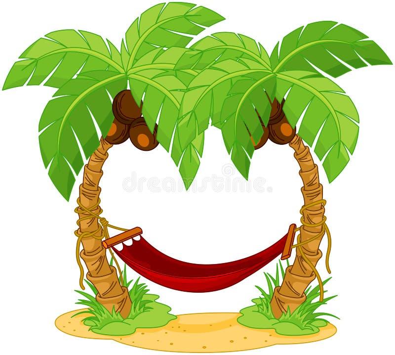 吊床被栓在两棵棕榈之间 库存例证