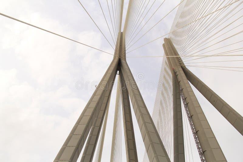 吊桥塔 免版税图库摄影