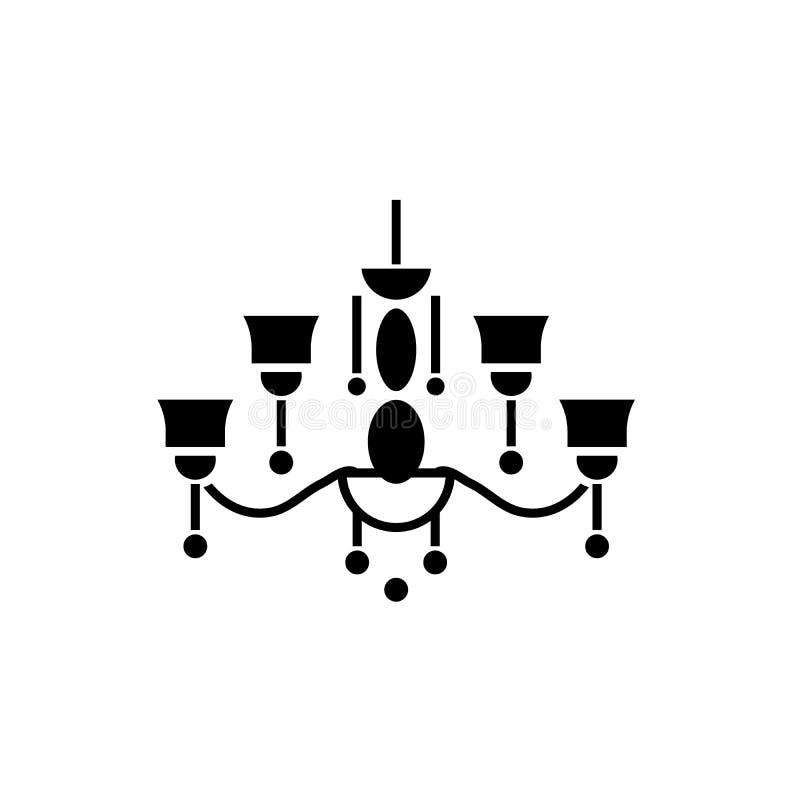 吊灯黑色象,在被隔绝的背景的传染媒介标志 吊灯概念标志,例证 向量例证