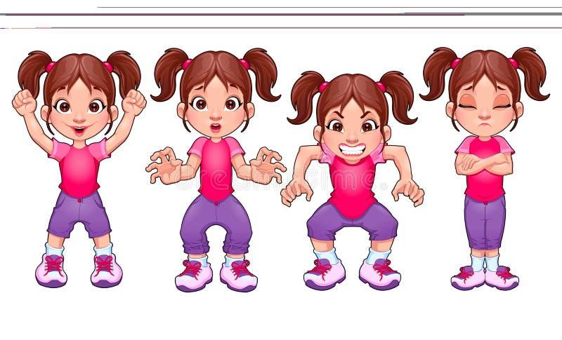 同一个女孩的四个姿势,用不同的表示 皇族释放例证