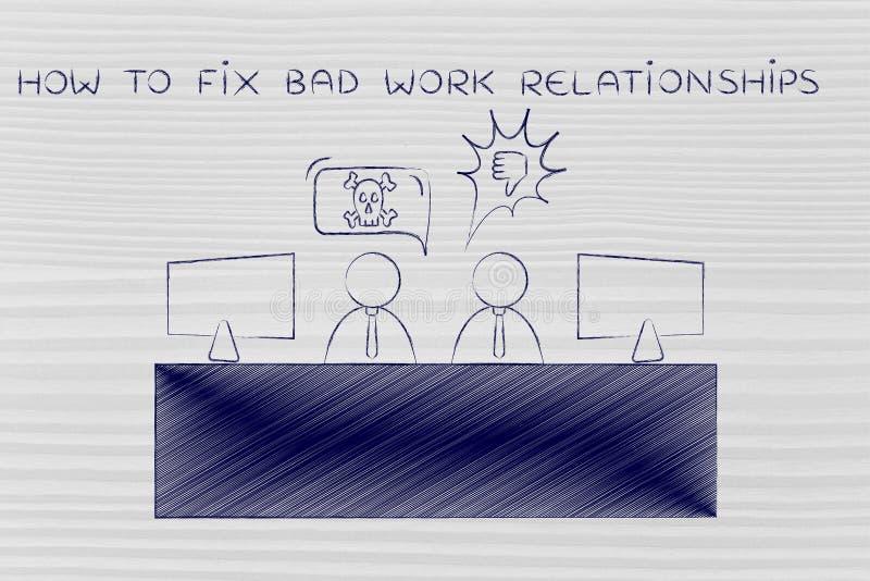 同事争论在办公室,如何修理坏工作relationsh 库存图片
