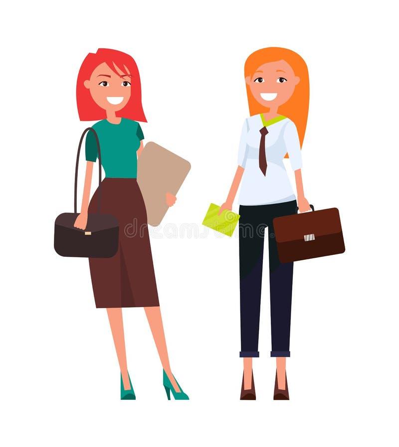同事典雅的女实业家红头发人女孩 皇族释放例证