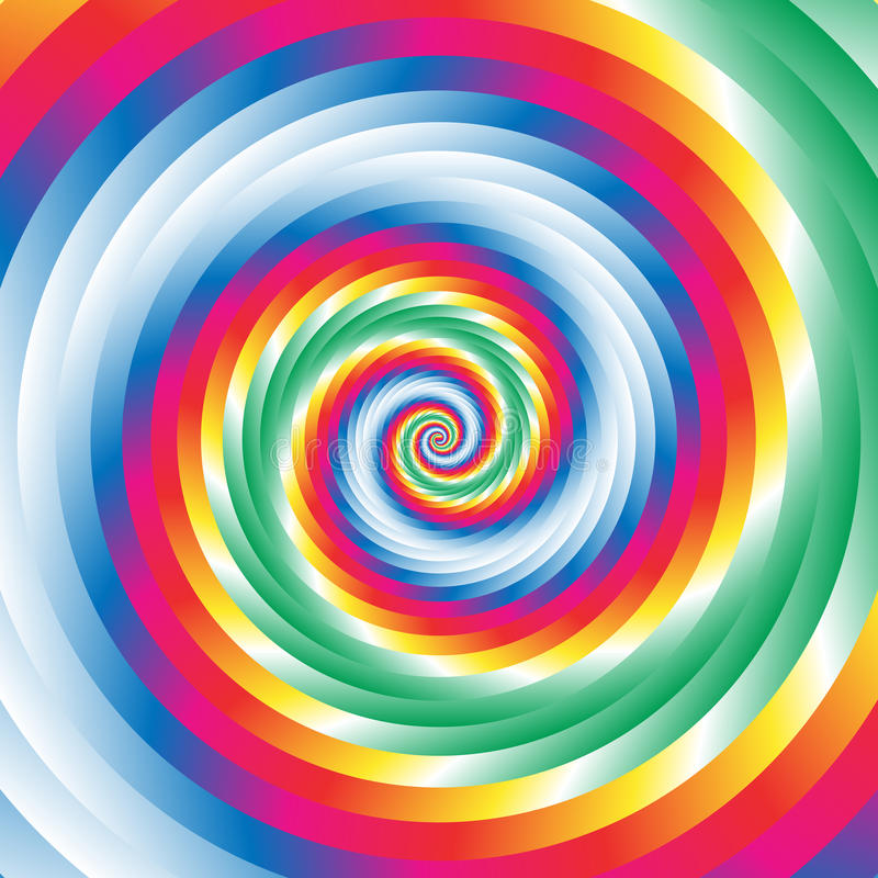 同心五颜六色的螺旋w任意圈子 抽象通报p 库存例证