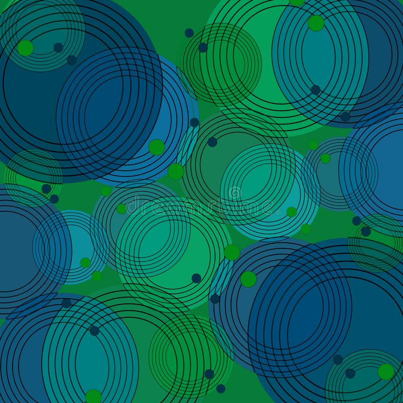 同心圆仿造与黑概述的蓝绿色紫色 库存例证
