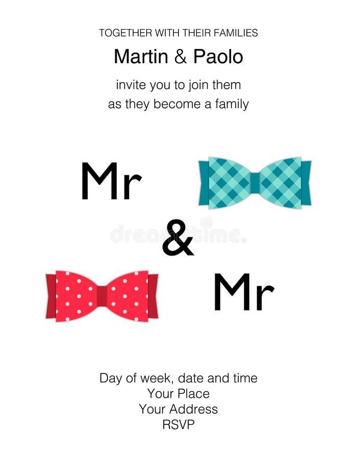 同性恋人的美好的minimalistic婚礼邀请 库存例证