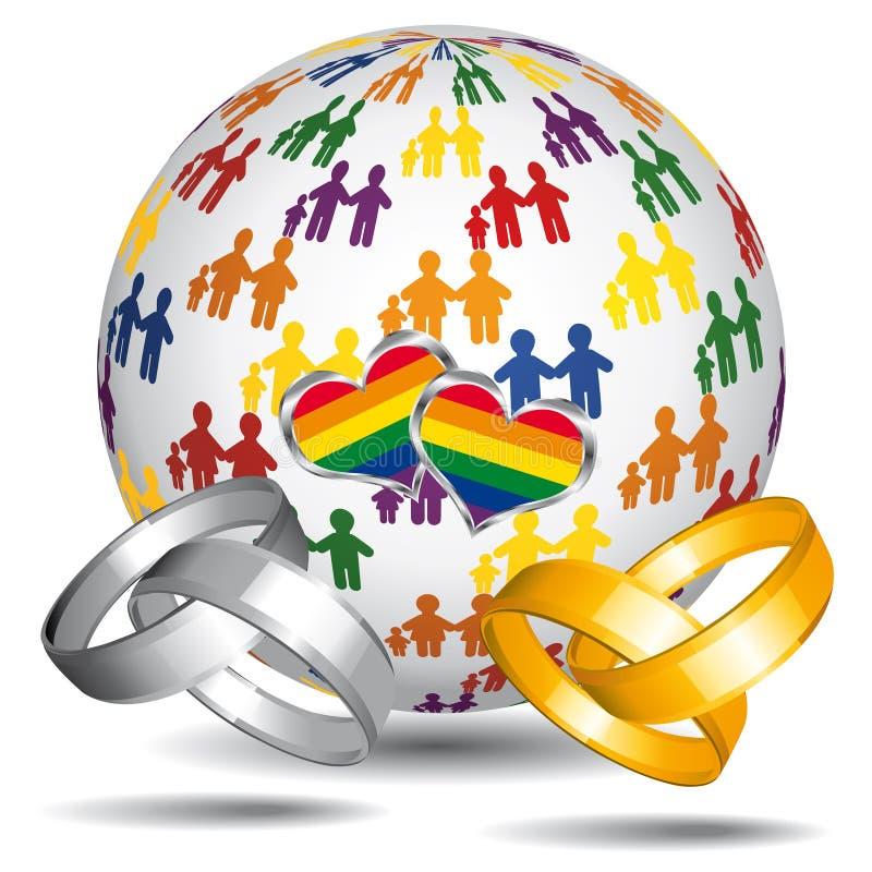 同性恋婚姻和采用图标。 向量例证