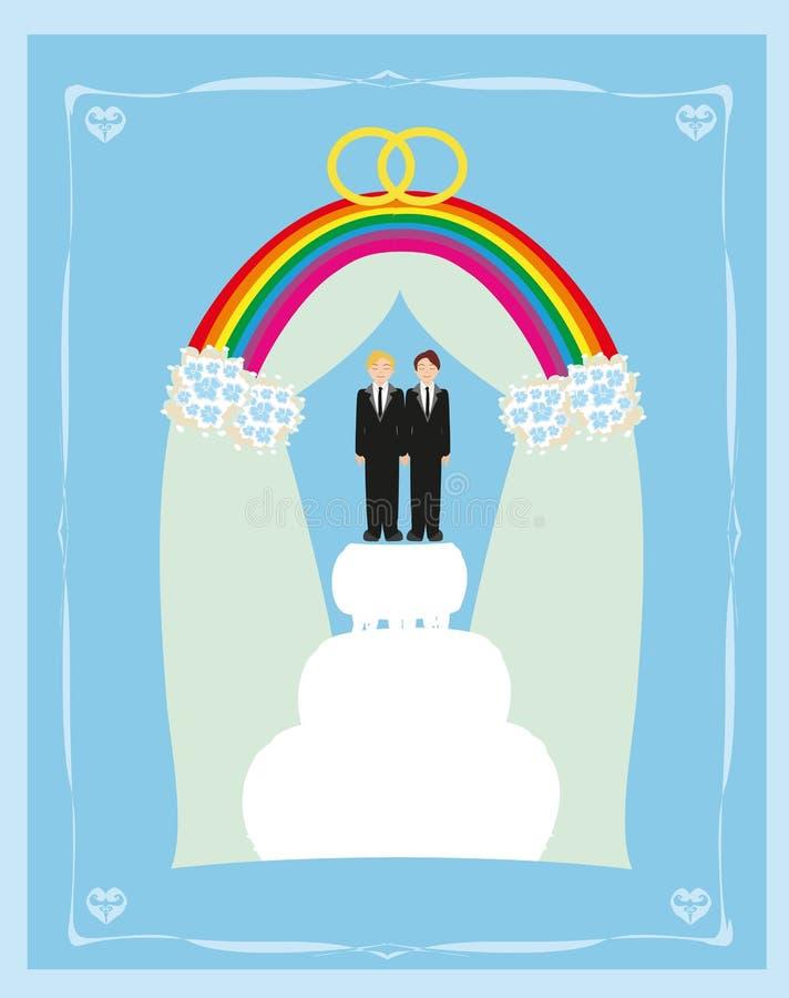 同性恋婚姻蛋糕卡片设计 库存例证