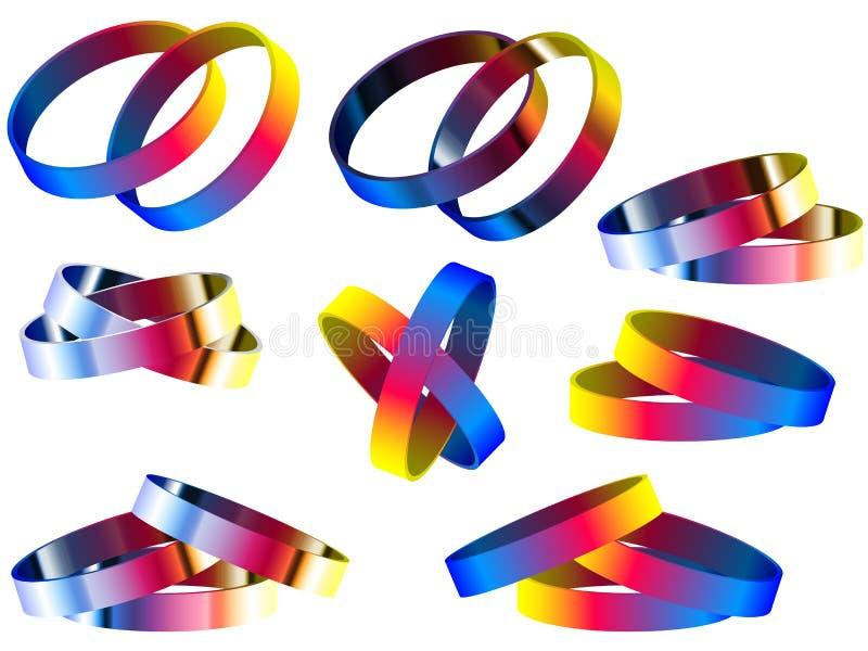 同性恋婚姻彩虹圆环和镯子 库存例证