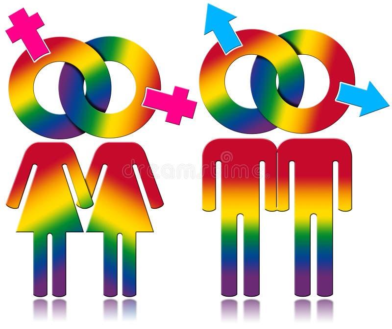 同性恋者关系-彩虹色的标志 皇族释放例证