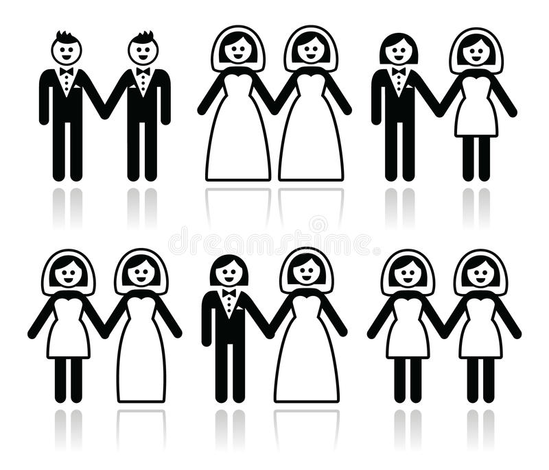 同性恋者婚礼-被设置的新郎和新娘象 向量例证
