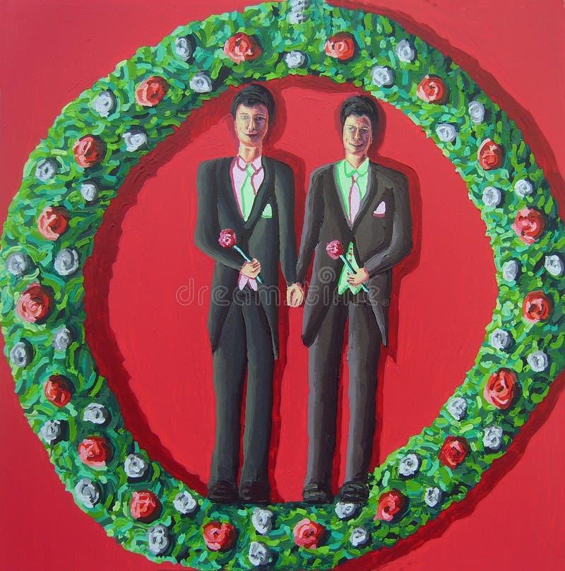 同性恋者获得婚姻同性恋已婚的人二 免版税库存图片
