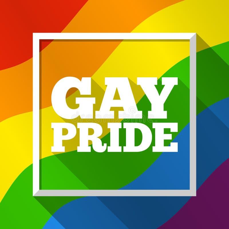 同性恋自豪日彩虹背景 在LGBT旗子颜色的传染媒介例证 现代五颜六色的模板为自豪感月,游行 向量例证