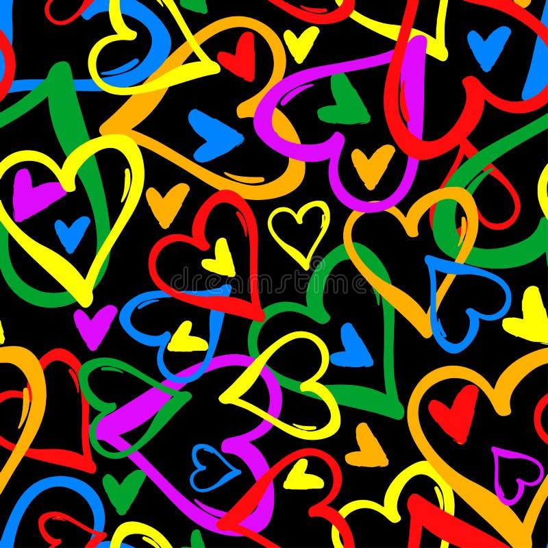 同性恋自豪日彩虹色的心脏无缝的样式 皇族释放例证
