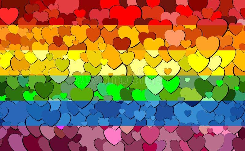 同性彩虹壁纸_同性恋自豪日旗子由心脏背景-例证,彩虹旗子制成有心脏背景