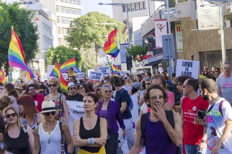 同性恋自豪日游行,塞浦路斯 免版税库存照片