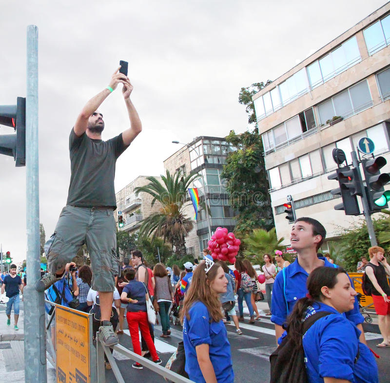 同性恋自豪日游行,耶路撒冷2014年 免版税库存图片