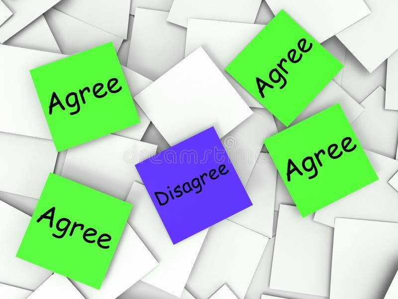 同意不同意支持便条纸的展示或 库存例证