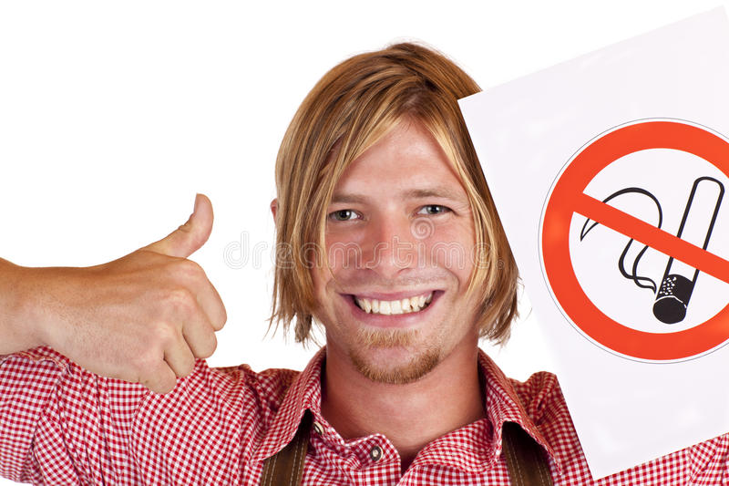 同意巴法力亚愉快的人抽烟没有的规&# 图库摄影