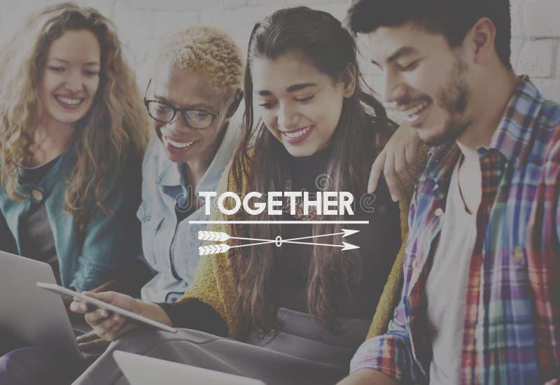 同时公共队支持团结朋友概念 免版税图库摄影