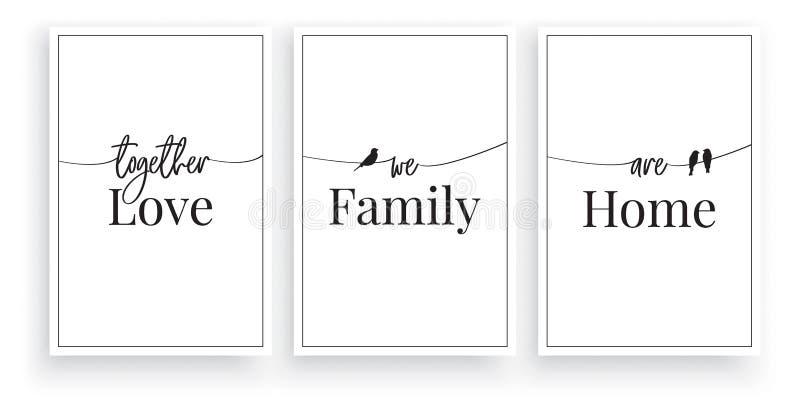 同时我们是爱,家庭,家,传染媒介,字词设计,字法,最低纲领派海报设计,三个片断海报设计 向量例证
