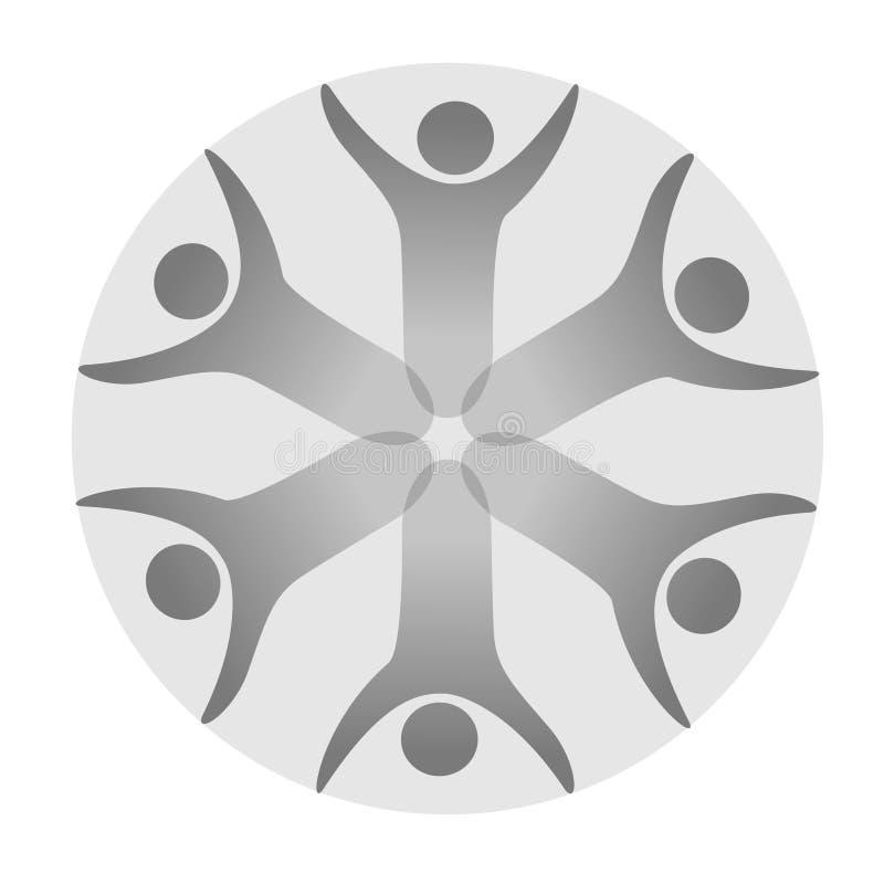同时被加入的人象 灰色社区标志 两个伙伴的人的标志 身体Silhouttes与透明度阴影的 Symbo 库存例证