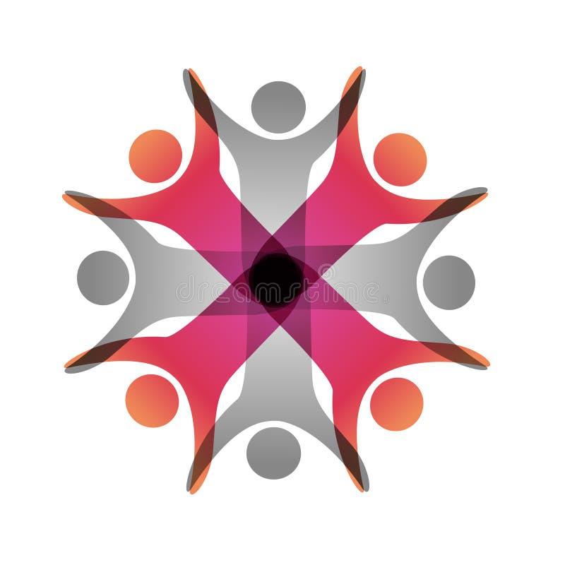 同时被加入的人象 红色和灰色社区标志 两个伙伴的人的标志 身体Silhouttes与透明度shado的 向量例证