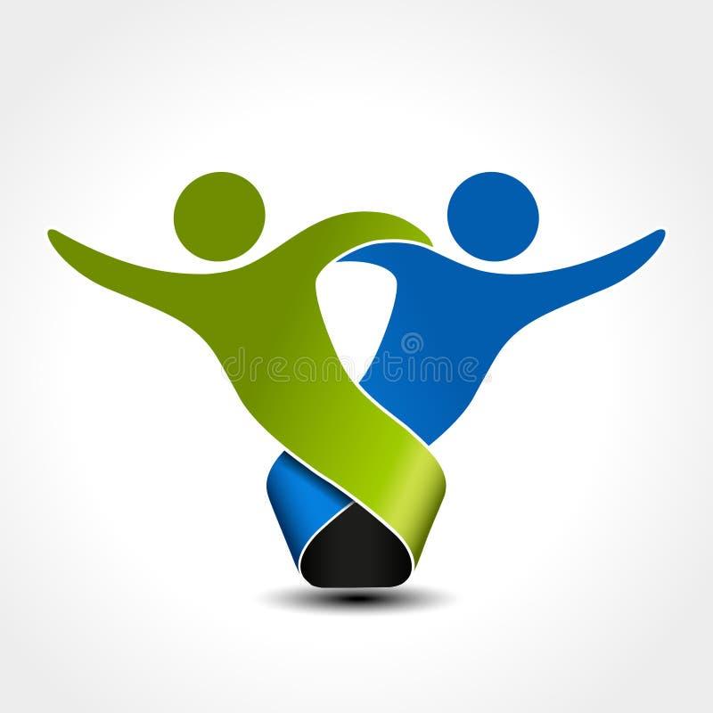 同时被加入的人象 绿色和蓝色社区标志 两个伙伴的人的标志 身体Silhouttes与透明度sha的 皇族释放例证