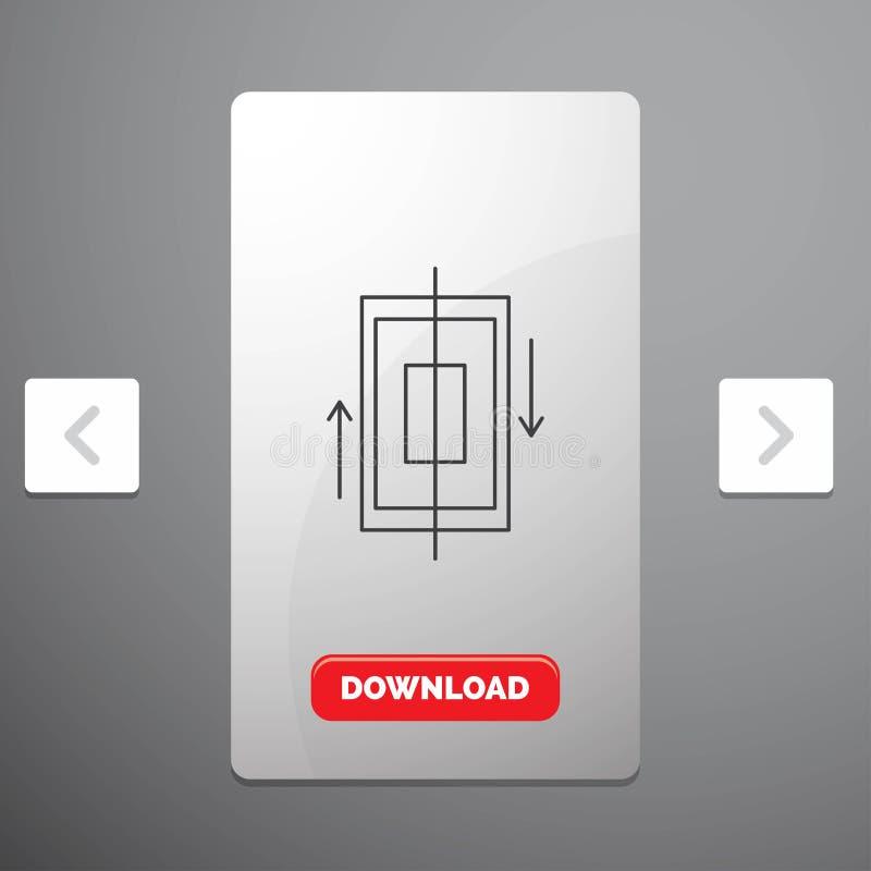 同步、同步、数据、电话、智能手机线象在喧闹的酒宴页码滑子设计&红色下载按钮 库存例证