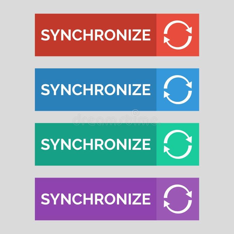 同步在灰色背景的平的按钮 库存例证