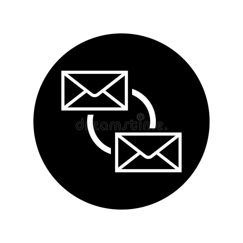 同步在黑圈子电子邮件sync标志的象 库存例证